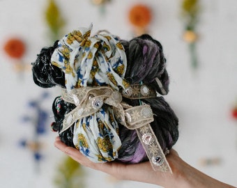 Knitting Kit // Handspun Yarn Kit, Wool Yarn, Mohair Yarn, Chunky, Bulky Yarn, Soft Yarn, Cotton Yarn, Mini Skeins, Boho Yarn, Black