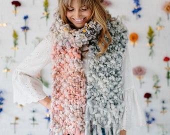 Knitting Pattern // Easy Knitting Pattern, Knit Scarf Pattern, Knitting Pattern for Women, Knitting Patterns for Chunky Yarns, Handspun Yarn