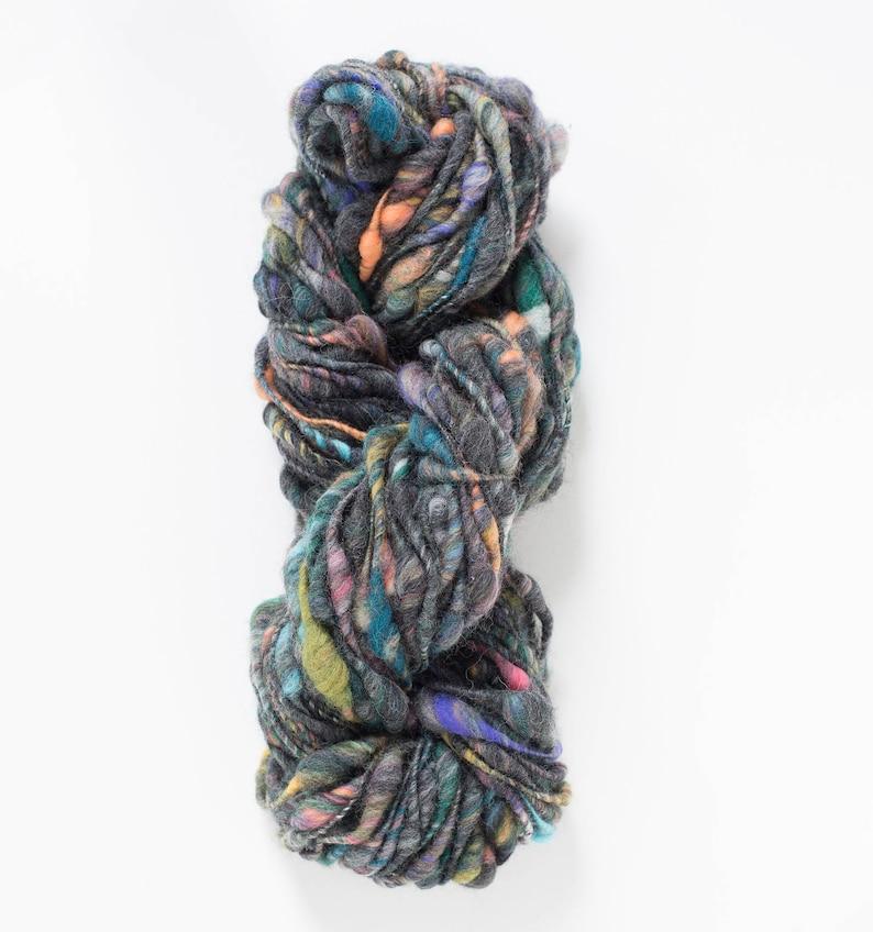 Handspun Yarn // Wool Yarn, Bulky Yarn, Soft Fluffy Yarn, Colorful Yarn,  Knitting for Beginners, Easy Knits, Cast Away, Charcoal Blossom