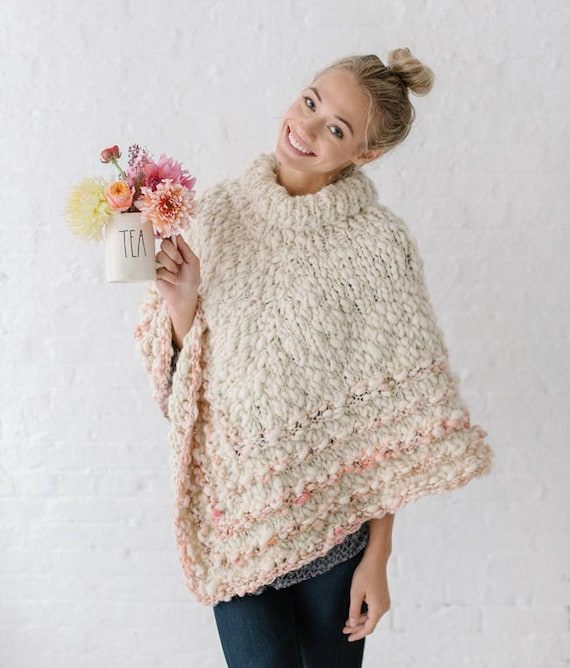Pattern Knit Poncho Pattern Knit Sweater Pattern Knit Top Etsy