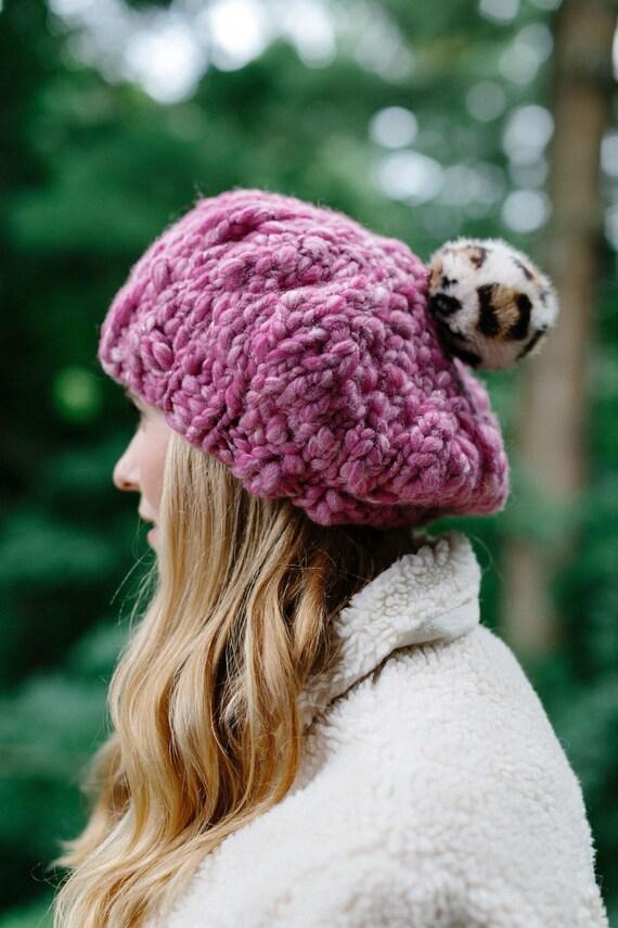 Knitting Pattern    Beret Hat Knit Beret Pom Pom Hat  ab0339fcb4f