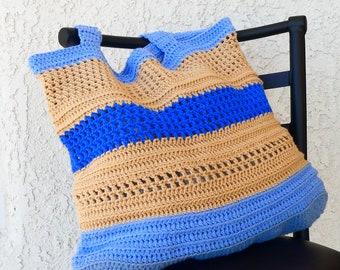 Crochet Light Blue Sandy Tan Deep Blue Gray Blue Mesh Beach/Market Bag, FREE US SHIPPING, Crochet Souffle on Etsy