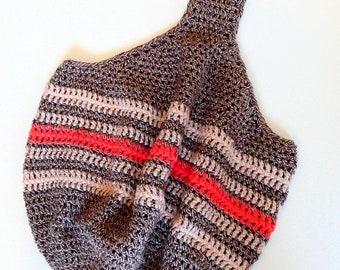 Crochet Brown Tan Orange Boho Slouchy Hobo Bag 100% Cotton, FREE US SHIPPING, Crochet Souffle on Etsy