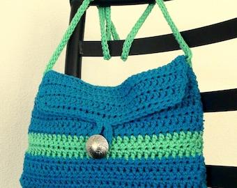 Crochet Teal Blue Apple Green Button Closure Crossbody Purse 100% Cotton Yarn, FREE US SHIPPING, Crochet Souffle on Etsy