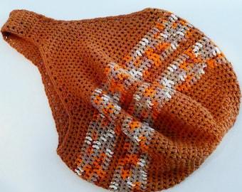 Crochet Rust Ochre Orange White Sand Boho Slouchy Mesh Hobo Bag 100% Cotton, FREE US SHIPPING, Tahiti Time on Etsy
