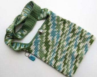 Crochet Messenger Southwestern Bag Cotton Sage Teal Cream Hand-Crocheted Carry Bag, Hand Crochet Bag, FREE US SHIPPING, Crochet Souffle