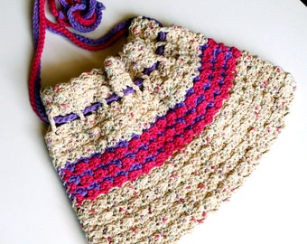 Hand-Crocheted Drawstring Carry Bag Oatmeal Purple and Pink, FREE US SHPIPING, Tahiti Time
