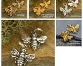 Small Sterling Silver, Silver Plated on Bronze, 14k Gold on Sterling silver, 24k Gold on Sterling Silver, or Bronze Honeybee Bumble Bee
