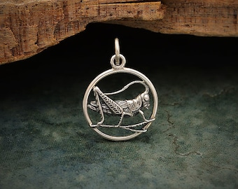 Lucky Cricket Pendant 925 Sterling Silver Cricket Necklace. Sterling Silver Cricket Charm