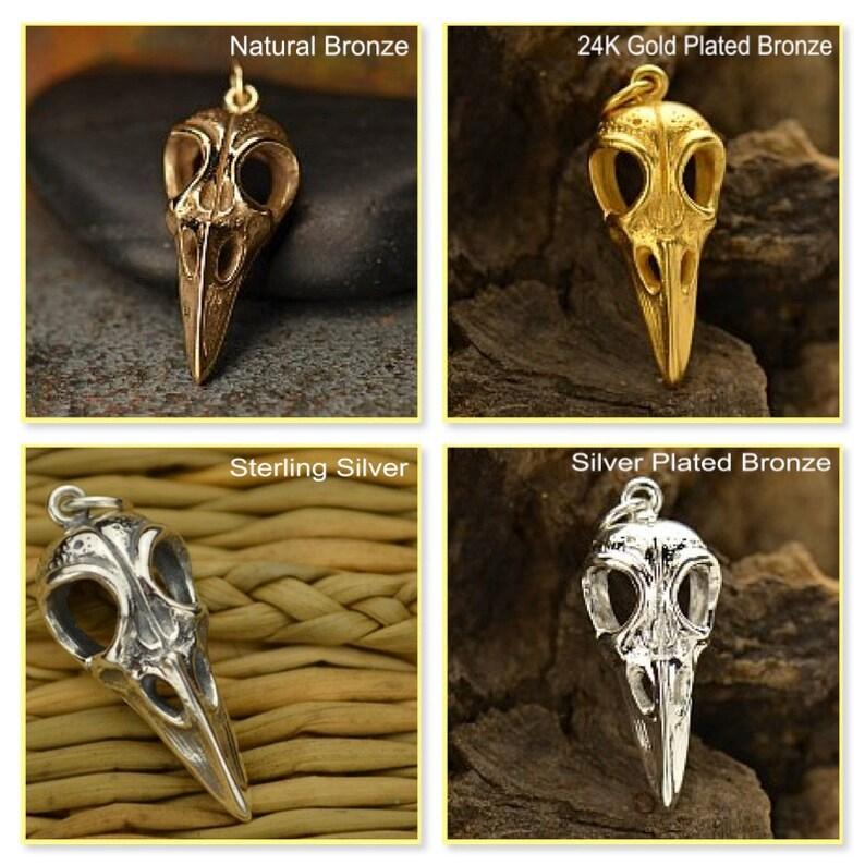 Nature-Holiday-Animal Sterling Silver Bird Skull Charm