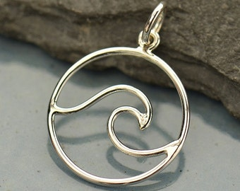 Sterling Silver Wave Pendant -Beach-Ocean-Sea