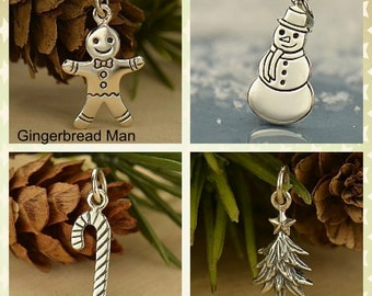 Sterling Silver Gingerbread, Snowman, Candy Cane, or Christmas Tree Charm -Holidays-Family- Childhood