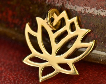 Solid 14K gold Lotus Flower Charm