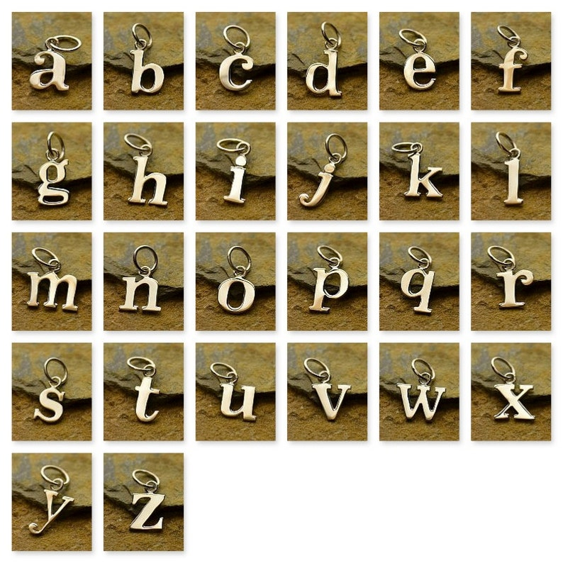 Sterling Silver Lowercase Typewriter Letter Charm