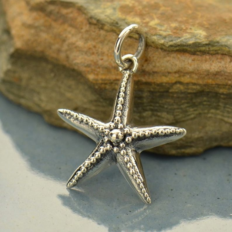 Sterling Silver Starfish with Granulation Charm
