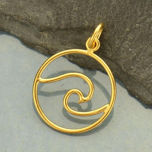 Gold pendant openwork wave with 24k gold plate etsy zoom aloadofball Choice Image