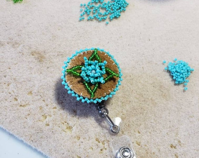 Athabascan Beaded Flower ID Badge Reel