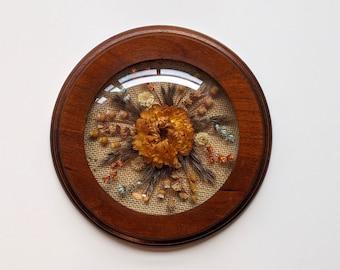Hand Made Rustic Frame Morsecodevintage Mid Century Teak Large Octagon Framed Dried Flower Art wedding keepsake