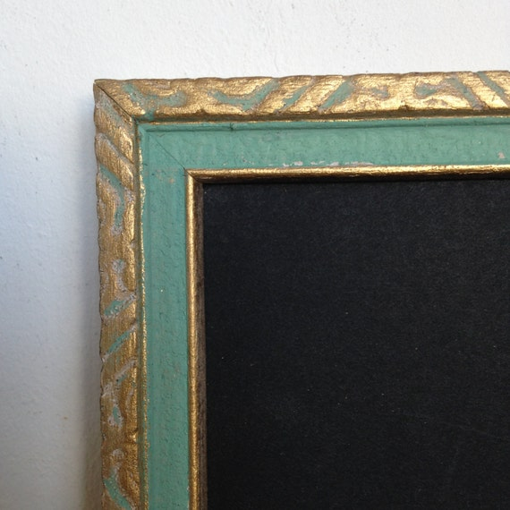 Vintage 8 x10 Aqua and Gold Carved Wood Frame, Distressed, 1950s ...