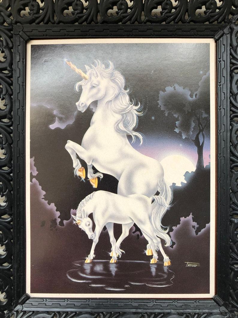 Ferraro Fantasy Art Vintage Ferraro 2 Unicorns  and Moon Print Sci Fi Art Framed in Ornate Black Frames morsecodevintage 80s decor