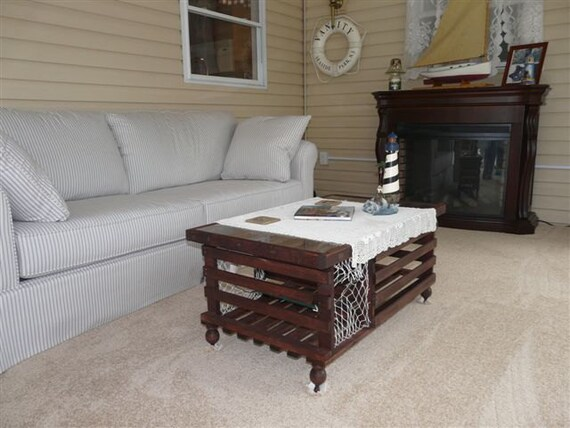 The Mahogany Stained Lobster Trap Coffee Table Made In Usa Plexiglass Not Included