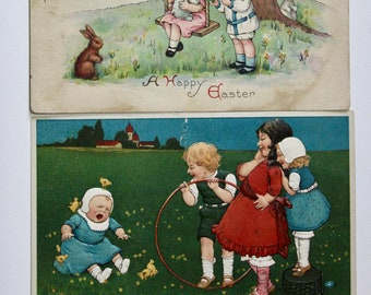 Three Antique Easter Postcards; Used Vintage Postcards 1913- 1929