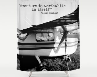 Airplane Shower Plane Curtain Black White Bathroom Amelia Earhart Quote Love Of Flying Pilot Gift Enthusiast Adventure