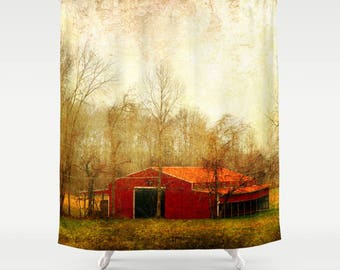 Barn Shower Curtain Landscape Rustic Red Bathroom Farmhouse Country Grunge