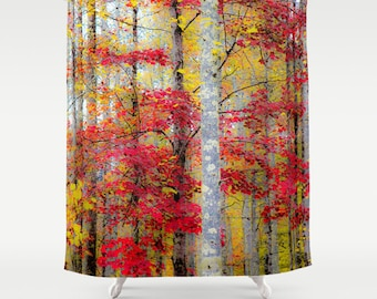 Rustic Shower, Fall Shower Curtain, Autumn Shower, Woods Shower Curtain,  Forest Shower, Trees Shower, Fall Bathroom, Nature Shower, Yellow