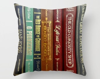 Literature Pillow, Books Throw Pillow, Books Pillow, Authors Pillow, Book Lovers Pillow, Library Pillow, Book Decor, Writer Gift, novels