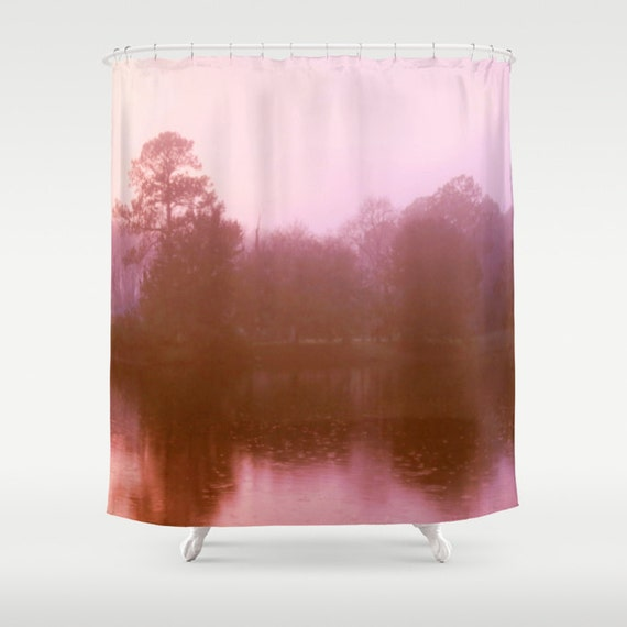 Pink Landscape Shower Curtain Bathroom Decor