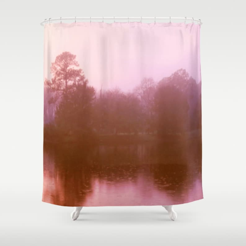 Shower Curtains Pink And Brown.Pink Landscape Pink Shower Curtain Pink Bathroom Decor Pink Etsy