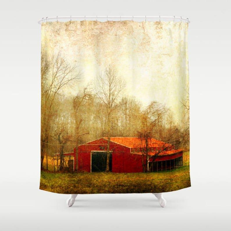 Barn Shower Curtain Landscape Rustic