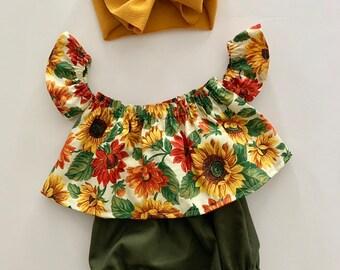 e336daa1bf21 Sunflower Crop Top, Off the Shoulder Top, Ruffle Top