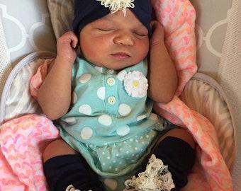 Navy Blue Leg Warmers and Headband Set, Newborn, Lace
