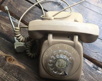 Beige Rotary Phone