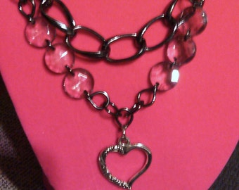 Heart double chain link necklace