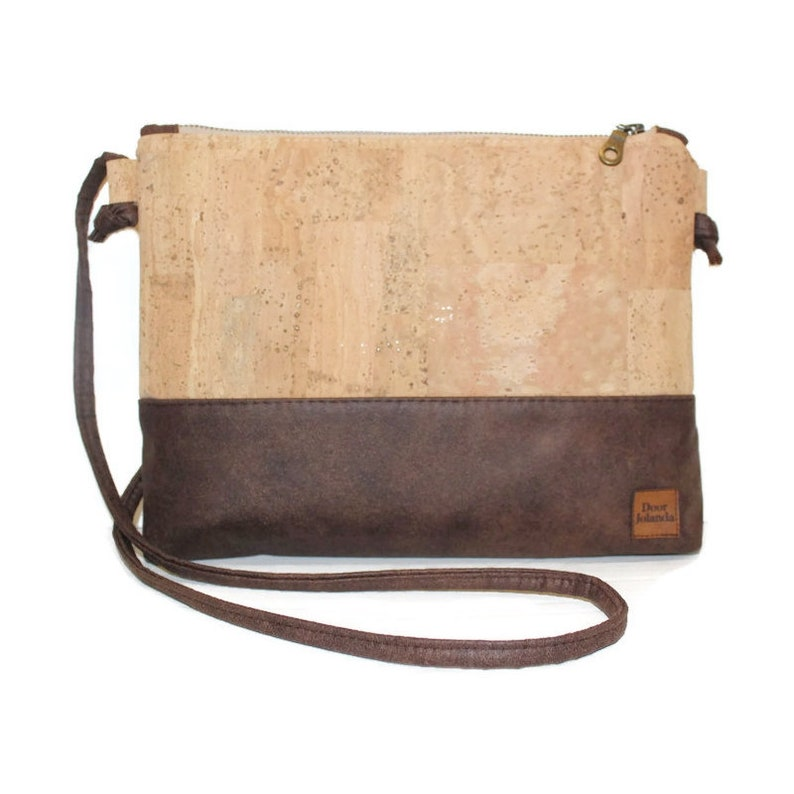 2190a859597 Clutch bag cork leather bag vegan bag brown bag zipper | Etsy
