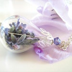 Lavender Flower Necklace, Real Flower Jewelry, Purple Flowers, Blue Flowers, Teardrop Necklace, Romantic Jewelry, Gift for Her