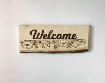 Welcome Sign Pyrography Wood Burning Flowers