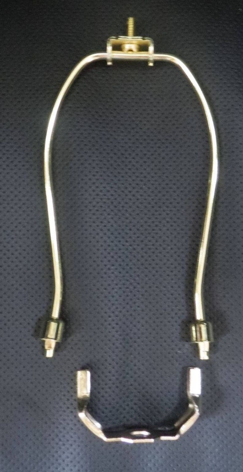 """12/"""" ~ BRASS PLATED  LAMP HARP w// BASE and Lacquer Protective Coating"""