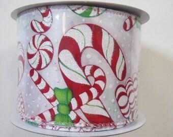 "Christmas Ribbon, 2.5"" x 10Yds, Candy Cane Ribbon, Peppermint Ribbon, Wired Ribbon, Wreath Supply, CC25,,P3e"