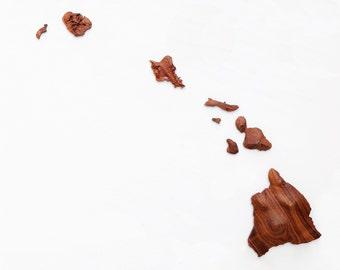Koa Wood Hawaiian Island Chain Wall Art. Relief Map of Hawaii from Koa Wood