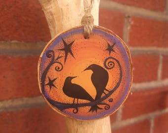 Black Crows Wooden Ornament 2