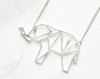 Origami elephant necklace, Geometric elephant, elephant pendant, silver elephant necklace, silver elephant, animal pendant