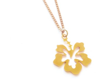 Hawaii Flower Necklace, flower necklace, Flower Pendant, floral jewelry, friendship necklace, bridesmaid jewelry, Personalised, Christmas