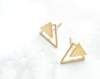 Triangle Twain Earrings, Triangle stud Earrings, Geometric Earrings, Gold Earrings, Geometric Jewelry, Minimalist Jewelry, Triangle Post