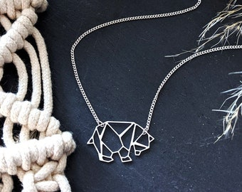 Origami Bear Necklace, Geometric Bear Necklace, Panda Necklace, Origami Necklace, Silver Bear Necklace, Animal Necklace, Animal lover gift