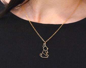RABBIT ORIGAMI Necklace, origami jewelry, bunny necklace, geometric necklace, origami bunny pendant, Valentin's gift, Animal Jewelry, gift