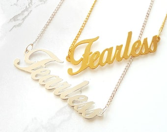 Fearless Necklace, Inspirational Quote, Inspirational Necklace, Gold Silver Necklace, Fearless Jewelry, Bridesmaid necklace, Bridesmaid gift